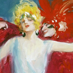 """L. Ehrenberger, """"Dancer with figure in red"""""""